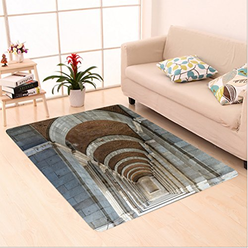 Nalahome Custom carpet n Royal Palace Corridor Madrid Spain Historic Famous European Landmark Facade Picture Print Grey area rugs for Living Dining Room Bedroom Hallway Office Carpet (5' X 8') by Nalahome
