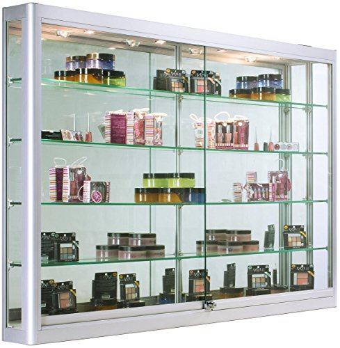 Displays2go Glass Wall Cabinets with LED Lights, Aluminum, Tempered Glass Shelves – Silver (WC606LEDS) by Displays2go
