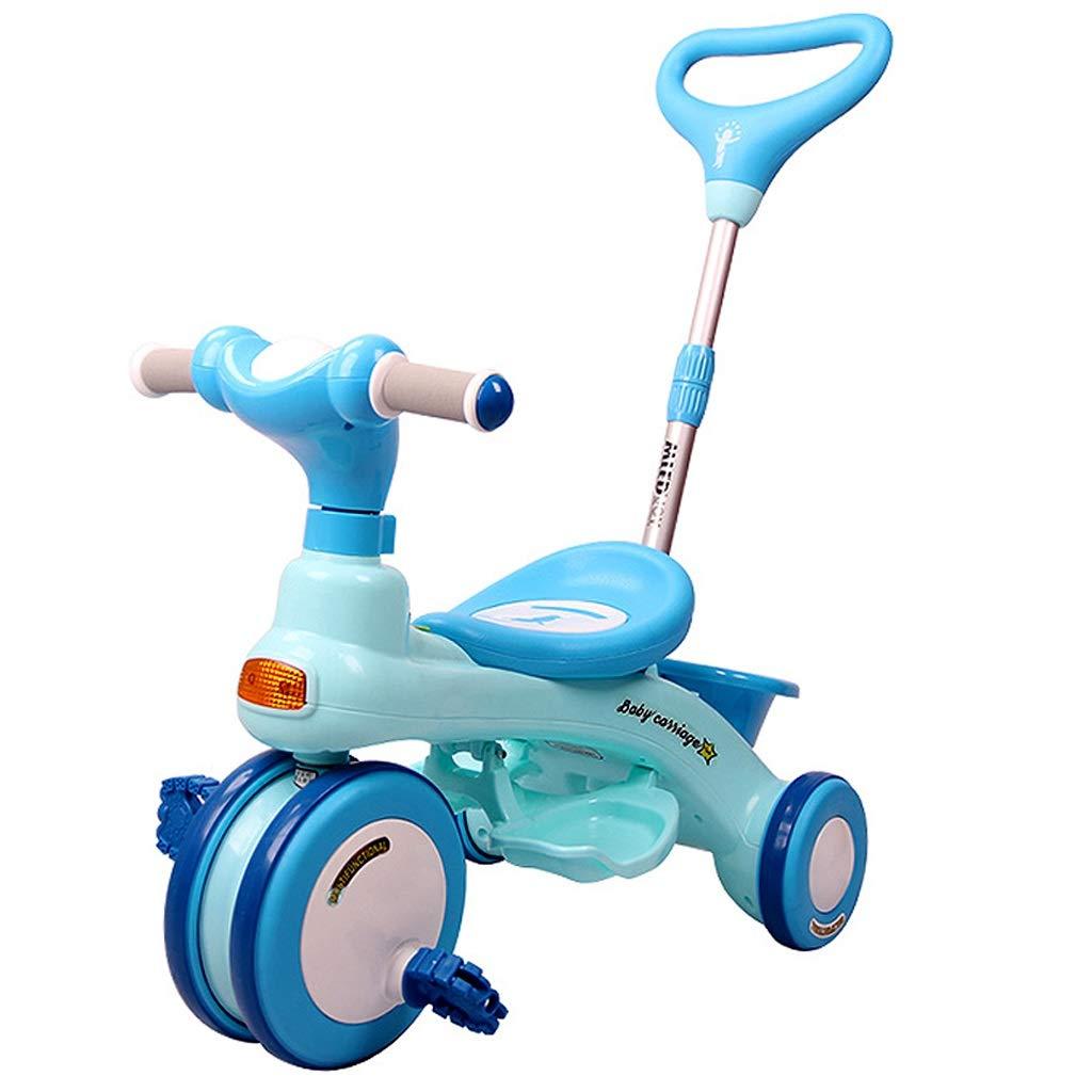 子供用三輪車 ファッション子供用自転車 子供用トロリー男の子と女の子用自転車 15歳の子供用屋外外出三輪自転車 持ち運びが簡単 (Color : Blue)  Blue B07QQHVVSJ