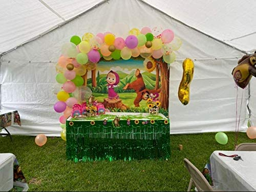 Masha and The Bear Party Backdrop Supplies Cartoon Happy Birthday Baby Shower Banner Spring Woodland Green Grass Kids Children Photography Background 7x5ft Decoration Photo Studio Props
