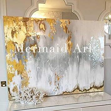 HANDBEMALT Original Abstrakte Moderne Kunst Zeitgenössische Malerei Gold  Weiß Grau Art Wand Dekoration Textur Artwork,