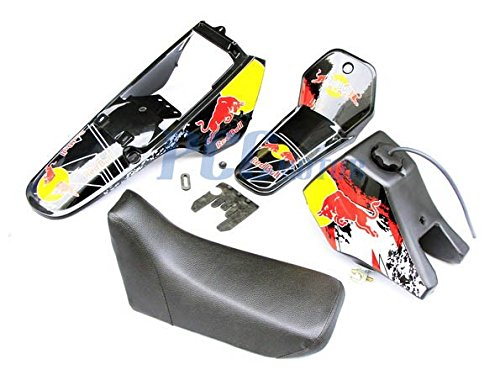 8.7L Yamaha PW80 PW COYOTE 80 TANK SEAT PLASTIC + DECALS GRAPHIC KIT BLACK DE52+ PCC MOTOR