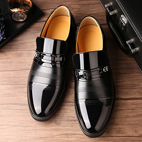 SPEEDEVE Men's Leather Shoes Formal Shoes Classic Dress Shoes Black O2ntl