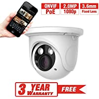 ProVisual 2 Megapixel IP Dome Security Camera 3.6mm Lens 90Ft Night Vision ARRAY Led POE