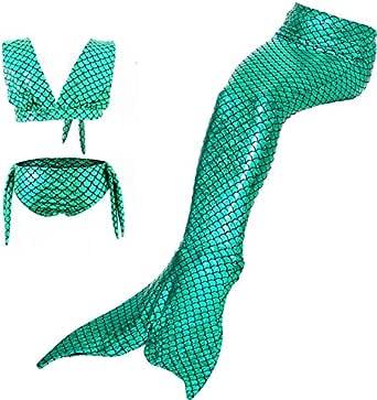 Mermaid Swimsuit Children's Swimsuit Bikini Girl Mermaid Skirt Princess Mermaid Costume Swimwear Fin Fun Mermaid Tail for Girls Kids Mermaid Swimsuit Bathing Suit Shell Bikini Swimming Costume 3 Pcs