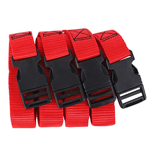 XSTRAP Luggage Straps 4PCS 72 Inch Length x 1 inch Width Bag Suitcase Belt Quick-Release Buckle (Red)