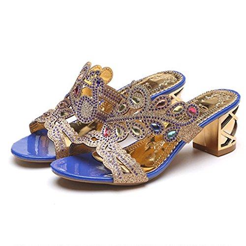 Lolittas Diamante Sandals for Women,Gold Wedding Bridal Jewelled Glitter Sparkly Bling Chunky Block High Mid Heel Peep Toe Wedge Platform Shoes Size 2-6 Dark Blue