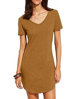 d3170d08b84 Haola Women s Summer Short Sleee Slim Fit Shirts Mini Dresses Juniors Dress  Top