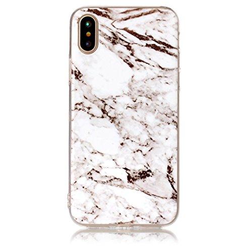 Custodia per AppleiPhoneX(5,8pouces) ,JIENI Protezione TPU Marmo naturale naturale di alta qualità Grigio marrone Morbido Bumper Cover Silicone Case per AppleiPhoneX(5,8pouces)