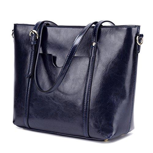 CLELO Women's Tote Bag, Genuine Leather Purse Handbag Shoulder Bag (Navy Blue)