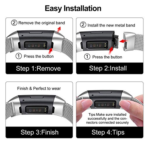 Fitlink Stainless Steel Metal Replacement Bands for Fitbit Charge 3 and Charge 3 SE for Women Men,Multi Color Multi Size(Silver,Small(5.5''-8.5''))