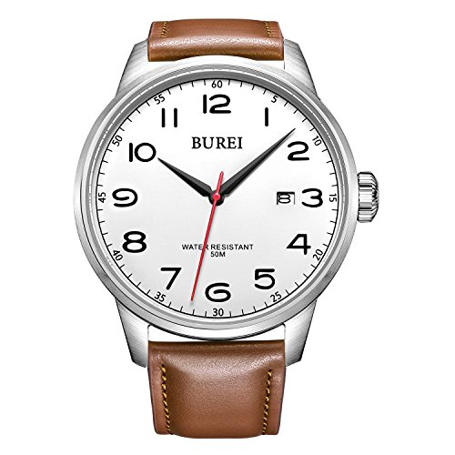 BUREI Men's Date Classic Easy Reader Watch with Brown Strap, White Dial