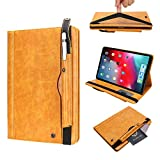 TechCode iPad 10.5 Case 2019, Premium PU Leather Business Folio Cover Stand Case with Pencil Holder Auto Wake/Sleep Document Pocket Sleeve for 10.5 inch iPad Air 3rd Gen/iPad Pro 10.5, Yellow