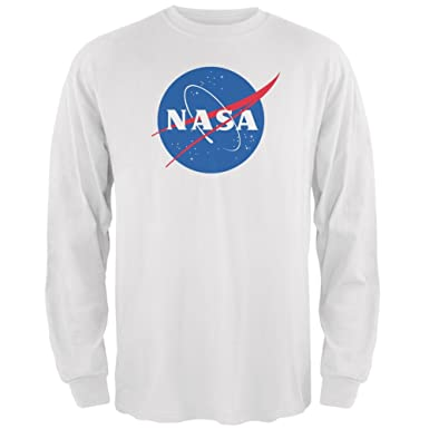 d79e45f6c Amazon.com: SAN NASA Logo White Adult Long Sleeve T-Shirt: Clothing