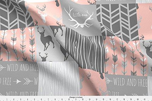 [해외]Spoonflower 사슴 직물-사슴 전체 천 산호 핑크 회색 패치 워크-설탕에 의해 기본 면화 울트라 패브릭 마당에 인쇄 된 디자인 / Spoonflower Deer Fabric - Deer Whole Cloth Coral Pink Grey Patchwork - by Sugarpinedesign Printed on Basic Cott...
