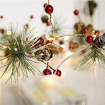 Weihnachtsbeleuchtung Tannenzapfen.Weihnachtsbeleuchtung Led 2m 20 Led Tannenzapfen Kupferdraht Schnur