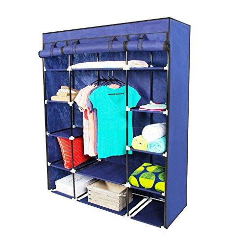 "53"" Portable Closet Wardrobe Clothes Rack Storage Organizer With Shelf Blue from Unknown"