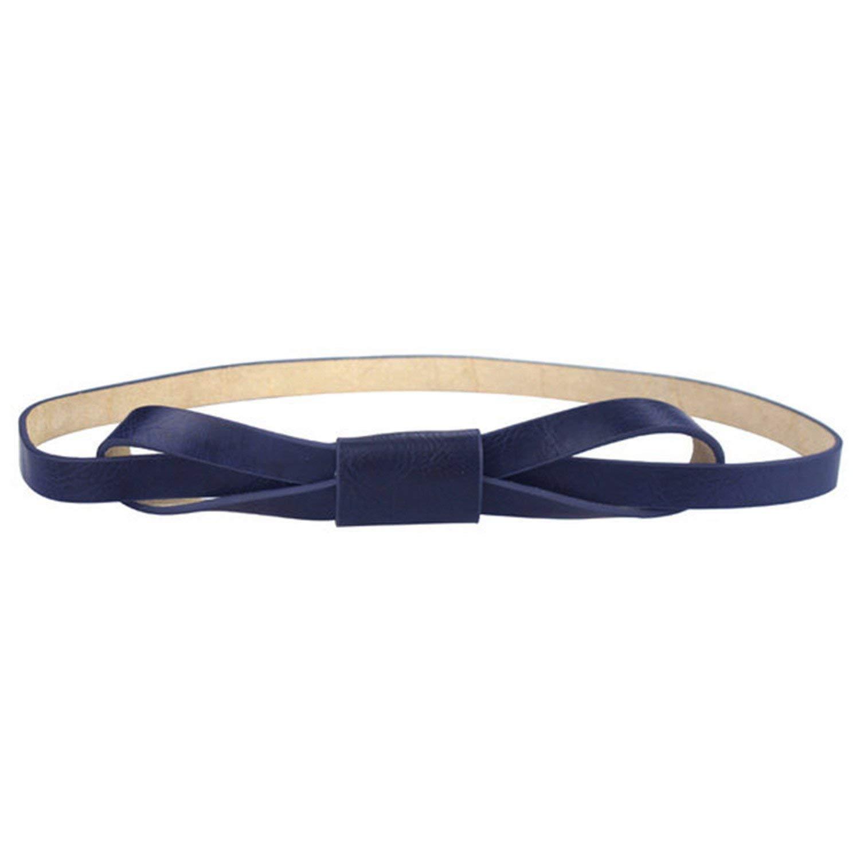 Mistere Fashion Women Bowknot Faux Leather Thin Women Belt,105cm,DarkBlue
