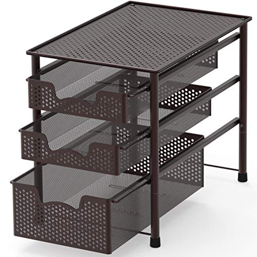 - Simple Houseware Stackable 3 Tier Sliding Basket Organizer Drawer, Bronze