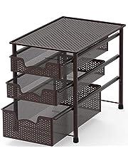 SimpleHouseware Stackable 3 Tier Sliding Basket Organizer Drawer