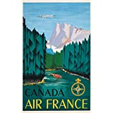 Air France - Canada Vintage Poster (artist: Dore) France c. 1951 (12x18 Art Print, Wall Decor Travel Poster)