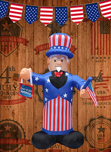 JF Deco 4th of July Inflatable Independence Day Decoration 7 Ft Patriotic Uncle Sam Decorations with American Flag Home Yard Outdoor Indoor from JF Deco
