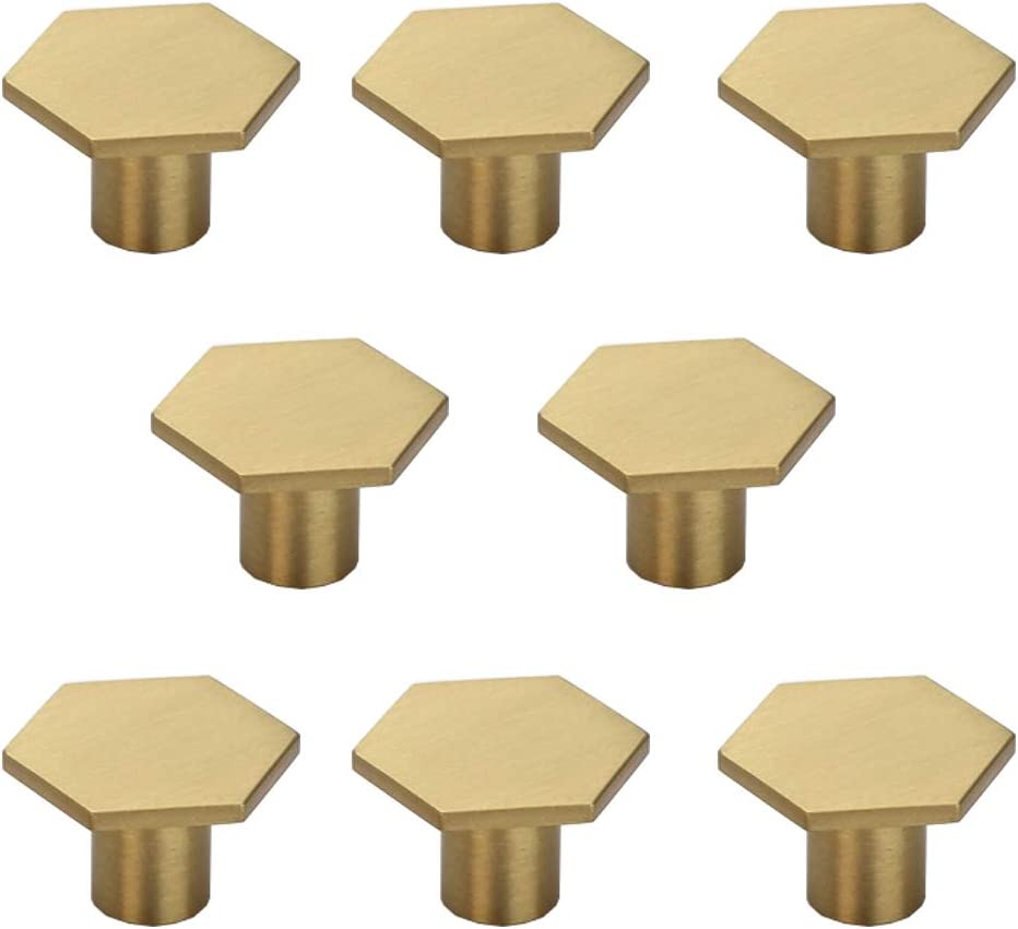 "RZDEAL 1-1/5"" Solid Brass Hexagon Kitchen Cabinets Knobs Home Office Decoration Hardware Handles and Pulls Wardrobe Knob (8Pcs)"