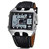 OHSEN Men Waterproof 30M Zone Alarm Digital Leather Band Sports Quartz Wrist Watch Black
