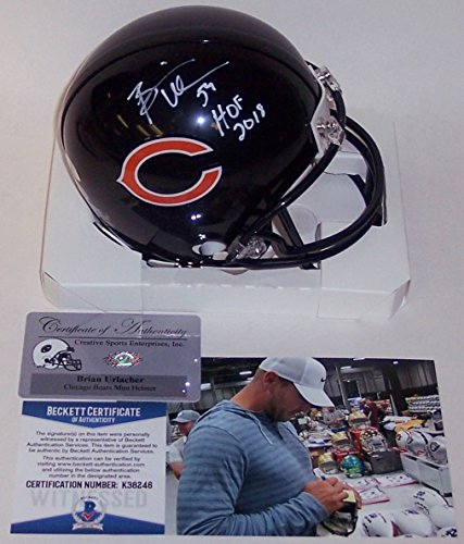 Brian Urlacher Autographed Hand Signed Chicago Bears Mini Football Helmet - with Hall of Fame 2018 Inscription - BAS Beckett