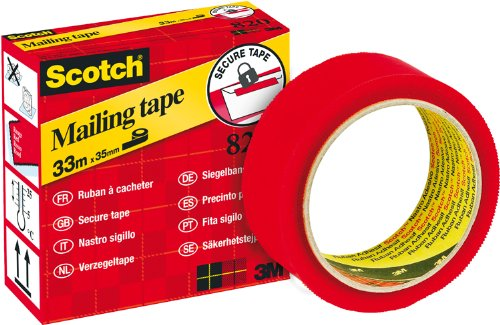 Scotch Secure Tape for Sealing 35 mm x 33 m Red 3M 8203533R