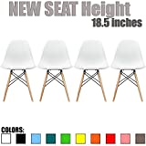 2xhome Eames Style Side Chair Natural Wood Legs Eiffel Dining Room Chair - White, Natural Legs