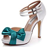 LUXVEER White and Teal Wedding Sandals with Bowknot 4 inch Heels,RS-9807-Sandals-Bowknot-EU35