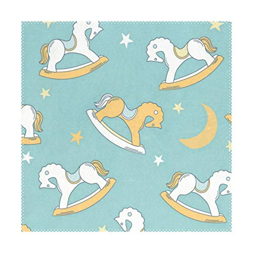 (Placemats Vintage Rocking Horse Square Place Mats for Dining Table Set Heat Resistant Washable Polyester Kitchen Table Mats set of 4)