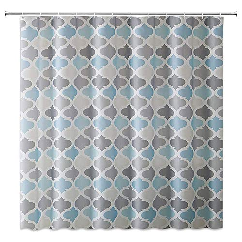 hower Curtain Bathroom Decor,Moroccan Style Simple Fashion,Waterproof Polyester Fabric Home Bath Accessories Curtains Sets Non Peva 69 X 70 Inch with Hooks,Gray Silver Blue ()