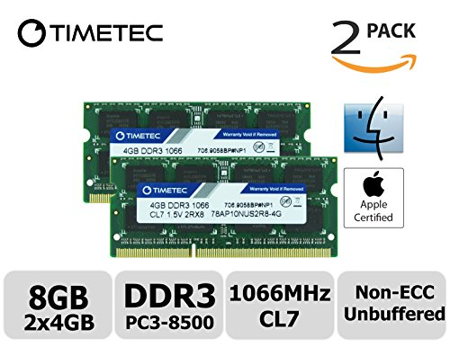 Timetec Hynix IC Apple 8GB Kit (2x4GB) DDR3 PC3-8500 1066MHz memory upgrade for iMac 21.5 inch/27 inch/20 inch/24 inch, MacBook Pro 13 inch/ 15 inch/ 17 inch, Mac mini 2009 2010 (8GB Kit (2x4GB)) (Apple Mac Pro Memory)