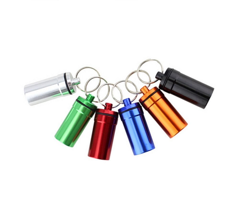 Mini Pill Box Bottle Holder Container Keychain Keyring Waterproof Pill Case
