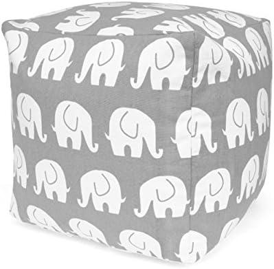 Urban Shop Elephant Printed Pouf, Gray