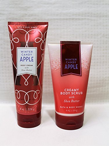 Bath & Body Works ~ Signature Collection ~ Winter Candy Apple ~Ultra Shea Body Cream - 8 Oz & Creamy Body Scrub - 8 oz ~ Winter 2017