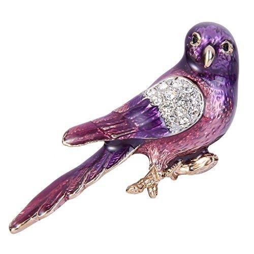 Enamel Bird Pin (EVER FAITH® Gold-Tone Austrian Crystal Purple Enamel Lovely Bird Animal Brooch Pin Clear )