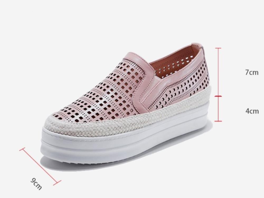 chaussures creuses 1073 paresseux chaussures Pink muffin simples femmes à fond épais épais chaussures ont augmenté Pink c31df60 - therethere.space