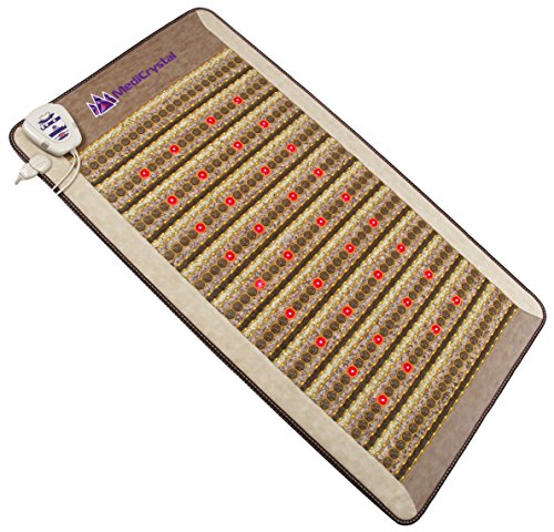 "Amethyst Jade Tourmaline FIR PEMF Photon Mat - Single Size 75""L x 39""W - Adjustable 86-158F Far InfraRed Heating - Bio Stimulation Red Light - Ion- Pulsed Magnetic Therapy -FDA Registered Manufacturer by MediCrystal"