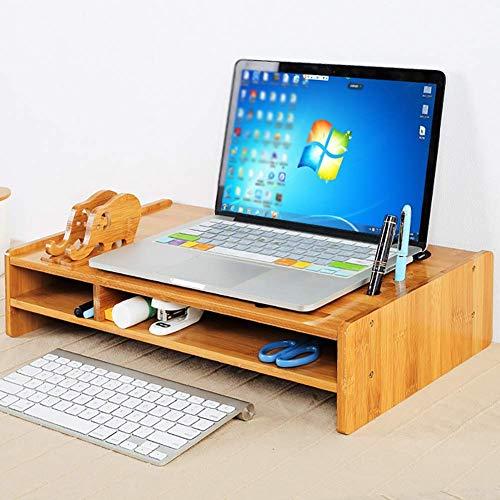 WCZZ Soporte de TV Soporte de monitor de bambú con organizador de ...