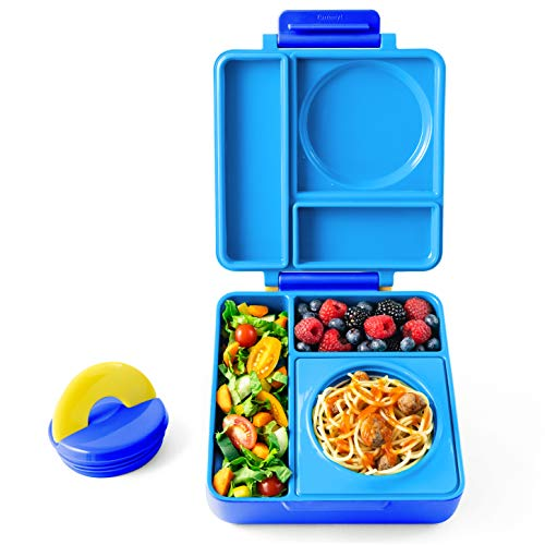 omiebox 3 compartment bento lunch box thermos food jar for kids leak proof and insulated. Black Bedroom Furniture Sets. Home Design Ideas