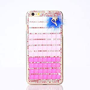 Seedan Pink Sparkling Cube Diamond Case for iPhone 6 Plus (5.5 inch) Blue Fox Design Handmade Crystal Hard Back Cover Bling Rhinestone Protector