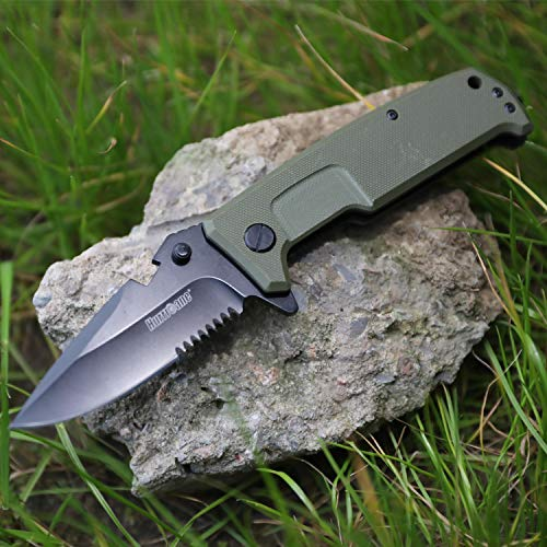 - Hurricane Pocket knife with belt clip and bottle opener, Ball Bearing Pivot System, Glass broker, One Hand Operation Flip Open, G10 handle and 8Cr15MoV Stainless Steel Blade, Liner Lock, Olive Green