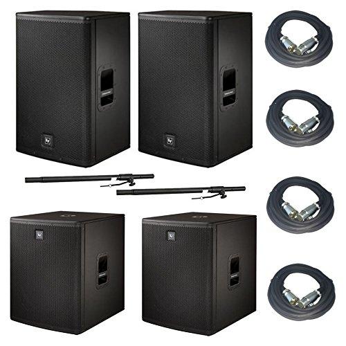 EV Electro-Voice ELX115P ELX118P Active PA System w/Poles & 4x 25' XLR Cables