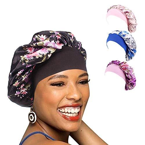 (1Pack/2Packs/4Packs Luxury Wide Band Satin Bonnet Cap Comfortable Night Sleep Hat Hair Loss Cap )