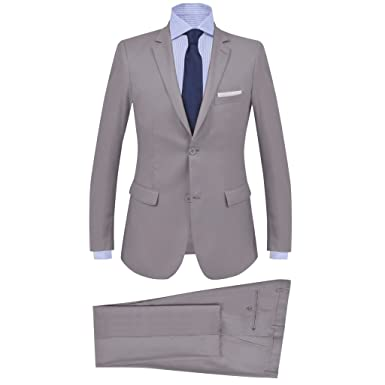 vidaXL Traje de chaqueta de hombre de 2 piezas talla 56 gris claro ...