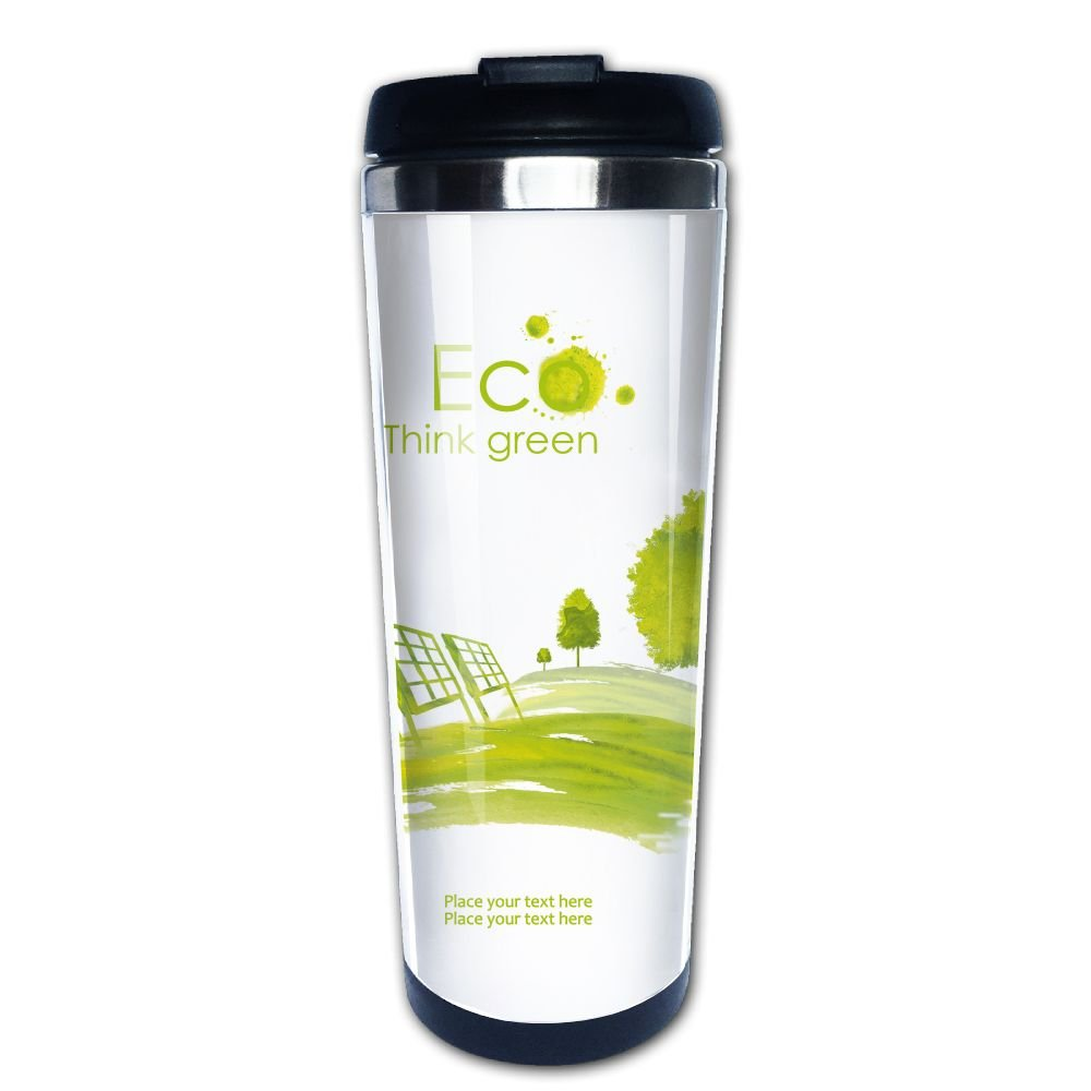 Kooiico Illustration Of Environmentally Friendly Planet Solar Energy Panels On The Green Field Hand Drawn Coffee Mug Thermal Mug Cup With Easy Clean Lid 14-Ounce Mug