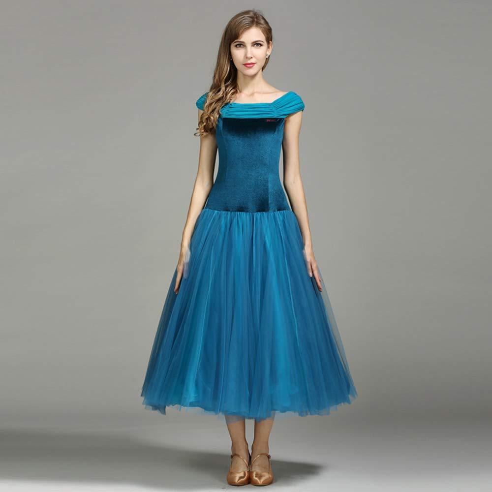 日本最級 現代の女性の大きな振り子の1つの単語の肩モダンなダンスドレスタンゴとワルツダンスドレスダンスコンペティションスカートネット糸ドレスダンスコスチューム B07HHQ6HRL B07HHQ6HRL Large|Blue Blue Large, オオクワムラ:78900e41 --- a0267596.xsph.ru